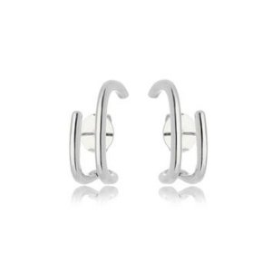 Brinco Ear Hook Liso Vazado Folheado Ródio