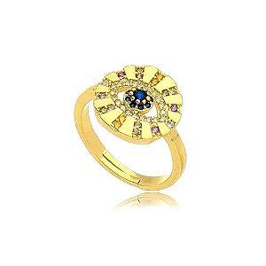 Anel Redondo Olho 12 Raios Cravejados Folheado Ouro Amarelo 18k