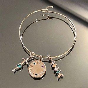 Bracelete Charms Cristal Esmeralda Folheado Ouro Amarelo 18k
