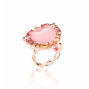 Anel Coração Turmalina Rosa Fusion e Cristais Folheado Ouro Rosé 18k