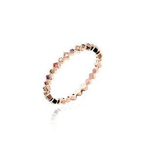 Anel Mini Losangos Coloridos Folheado Ouro Rosé 18k