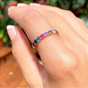 Anel Bolinhas Cristais Rainbow Folheado Ouro Rosé 18k