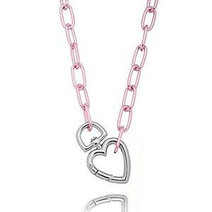 Colar Elos Ovais Coração Verniz Pink