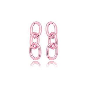 Brinco 3 Elos Lisos M Verniz Pink