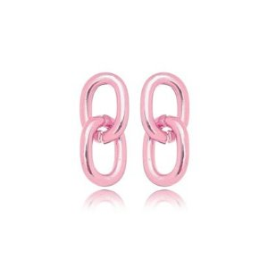 Brinco 2 Elos Lisos G Verniz Pink