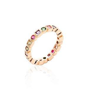 Anel Bolinhas e Quadrados Coloridos Folheado Ouro Rosé 18k