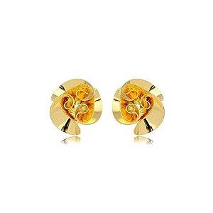 Brinco Flor Lisa G Folheado Ouro Amarelo 18k