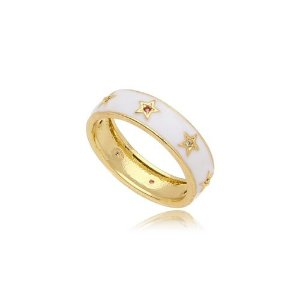 Anel Esmaltado & Estrelas Coloridas Folheado Ouro Amarelo 18k