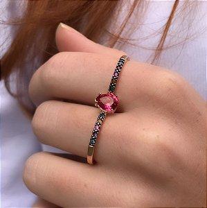 Anel Duplo Cristal Ruby ARO17/19 Folheado Ouro Amarelo 18k