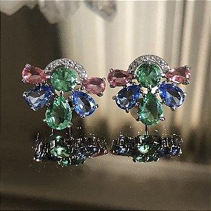 Brinco Arcos Cristal Colors Folheado Ródio