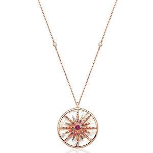 Colar Mandala Sol Madrepérola Cravejada Folheado Ouro Rosé 18k
