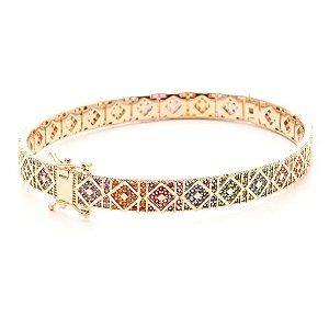 Bracelete Mosaico Nano Rainbow Folheado Ouro Amarelo 18k