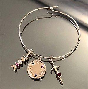 Bracelete Charms Cristal Rubi Folheado Ouro Amarelo 18k