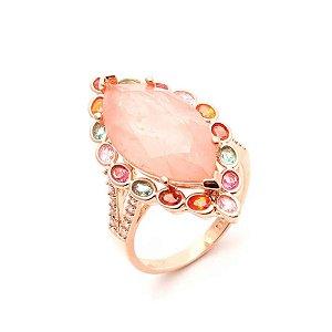 Anel Navete Morganita Fusion Mosaico Colors Folheado Ouro Rosé