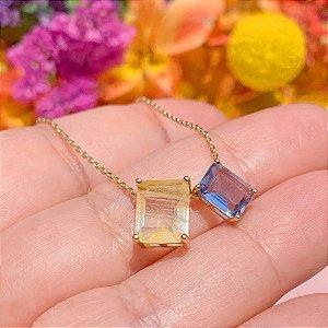 Colar Escapulário Fusion Citrino & Cristal Topázio Azul Folheado Ouro Amarelo 18k