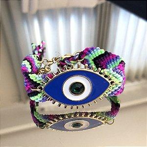Pulseira Boho Olho Azul e Branco Folheado Ouro Amarelo 18k