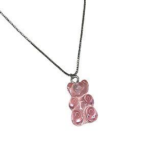 Colar Gummy Cristal Rosa Folheado Ródio