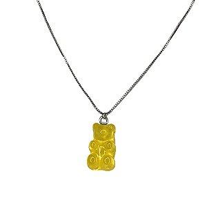 Colar Gummy Cristal Amarelo Folheado Ródio