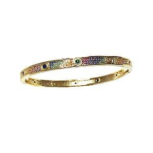 Bracelete C Rainbow Folheado Ouro Amarelo 18k