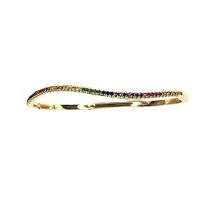 Bracelete Onda Rainbow Folheado Ouro Amarelo 18k