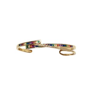 Bracelete X Rainbow Folheado Ouro Amarelo 18k