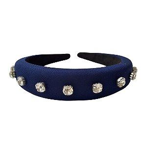 Tiara Alta de Crepe & Cristais Azul Marinho