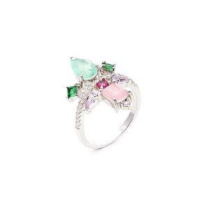Anel Princesa Esmeralda Fusion & Cristal Turmalina Rosa Folheado Ródio