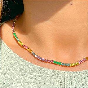 Colar Riviera Rainbow Esmeralda Folheado Ouro Amarelo 18k