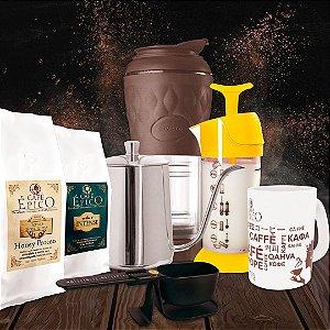 Kit presenteável Pressca Café Épico (Marrom e Amarelo)