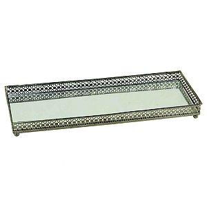 Bandeja Retangular Espelhada Decorativa Luxo Metal Cromado Cor Ferro
