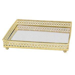 Bandeja Quadrada Espelhada Decorativa Luxo Dourada
