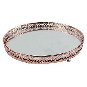 Bandeja Redonda Espelhada Decorativa Luxo Cobre