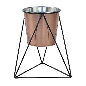 Cachepot Decorativo em Metal Luxo Cobre e Preto