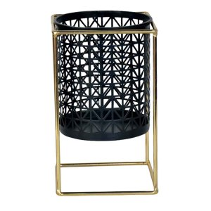 Cachepot Decorativo em Metal Preto e Dourado