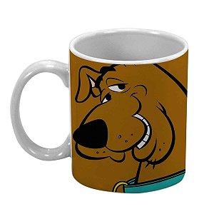 Caneca Porcelana Hanna Barbera Scooby Doo Face Marrom 300 ml