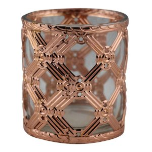 Castiçal Decorativo Luxo de Vidro e Metal Bronze