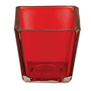 Castiçal Porta Velas Decorativo Cubo Vermelho Decorativo Vidro