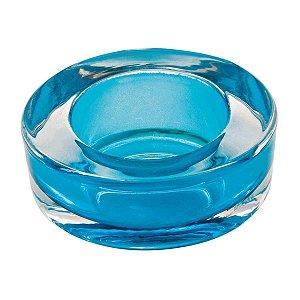 Castiçal Porta Velas Decorativo Redondo Azul Decorativo Vidro
