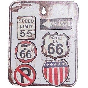 Placa Decorativa Vintage Trânsito Metal com 6 Magnéticos