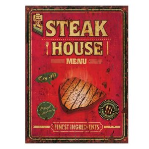 Placa Decorativa Steak House Metal