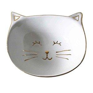 Conjunto de Mini Prato de Cerâmica Gato Branco e Dourado 4 Peças