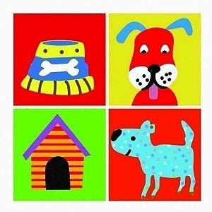Conjunto de Quadros Cachorro 4 Peças