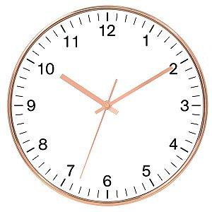 Relógio de Parede de Plástico Branco e Rose Gold