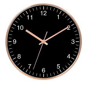 Relógio de Parede de Plástico Black e Rose Gold