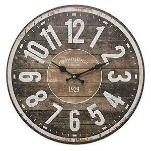 Relógio de Parede em Madeira Marrom