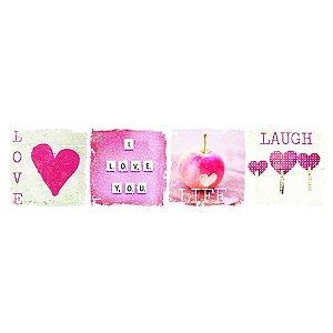 Tela Hearts (Corações) Rosa
