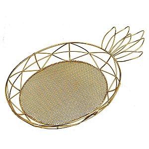 Bandeja Retangular Decorativa Abacaxi de Metal Dourado