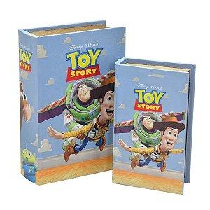 Caixa Livro Toy Story Disney em Couro Sintetico e MDF na Cor Azul