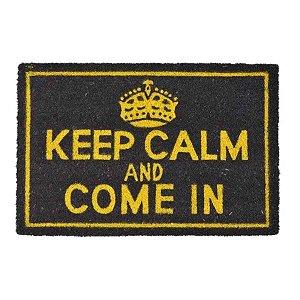 Capacho Keep Calm (Fique Calmo e Entre) em Fibra de Coco nas Cores Cinza e Amarelo