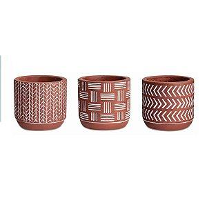 Conjunto de Cachepots Decorativos Vermelho em Cimento